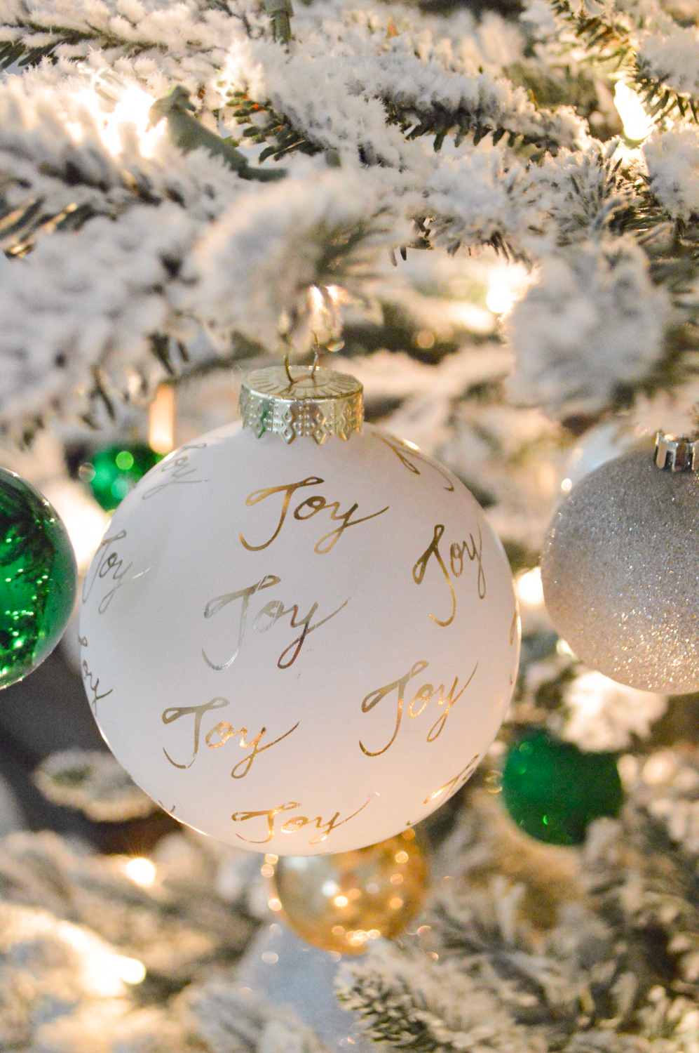 Lightly Flocked Natural Aspen Pine Christmas Tree in white gold green Fox Hollow Cottage www.foxhollowcottage.com 19