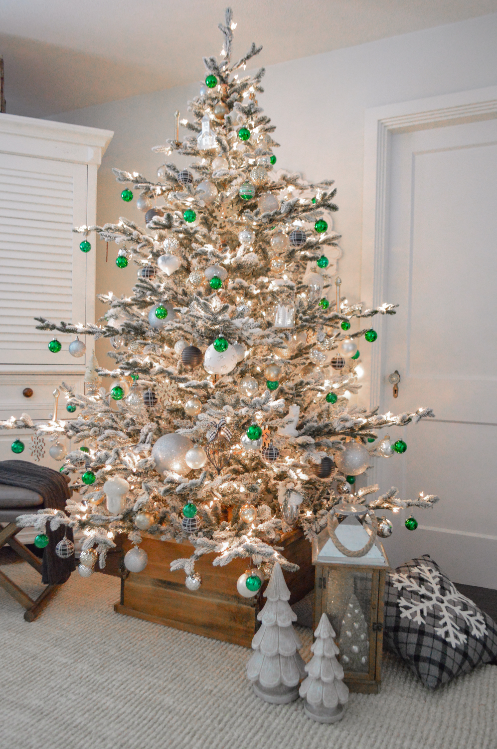 Lightly Flocked Natural Aspen Pine Christmas Tree in white gold green Fox Hollow Cottage www.foxhollowcottage.com 42
