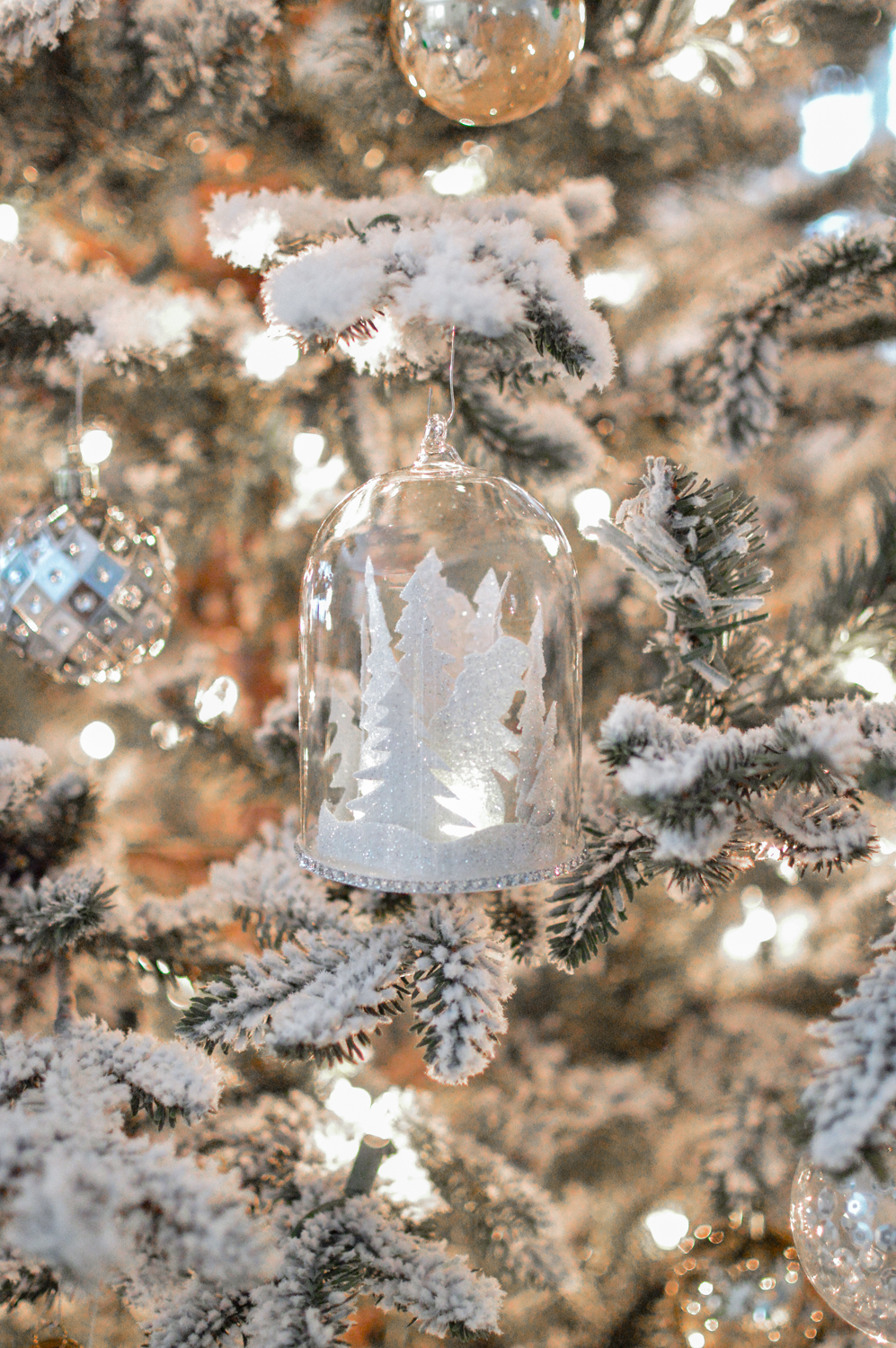 Lightly Flocked Natural Aspen Pine Christmas Tree in white gold green Fox Hollow Cottage www.foxhollowcottage.com 45