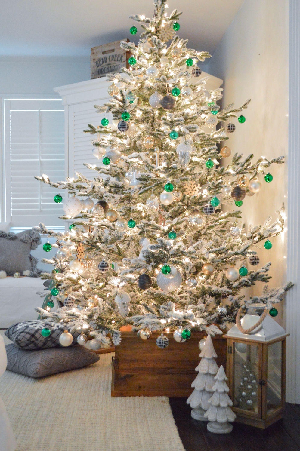 Lightly Flocked Natural Aspen Pine Christmas Tree in white gold green Fox Hollow Cottage