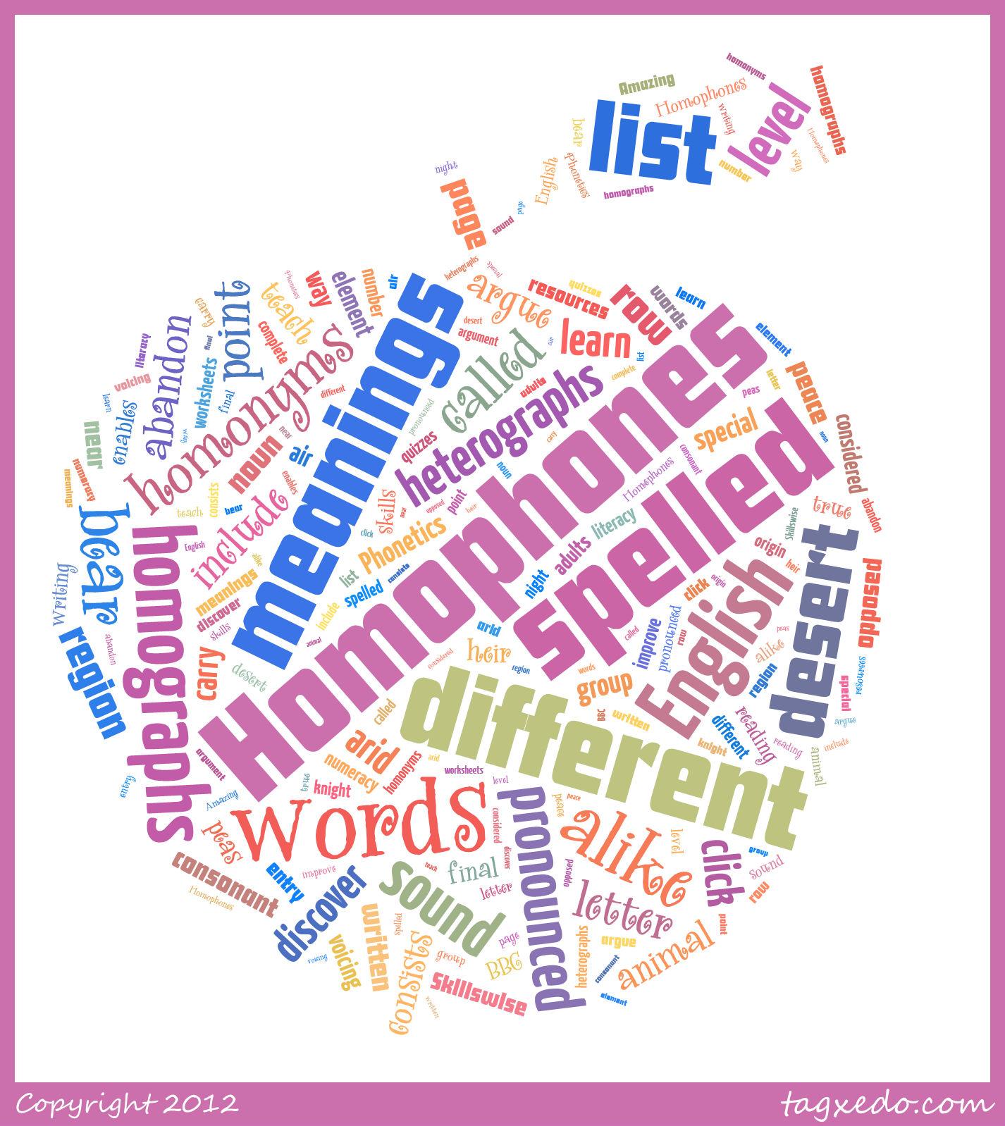 Homophone Word List