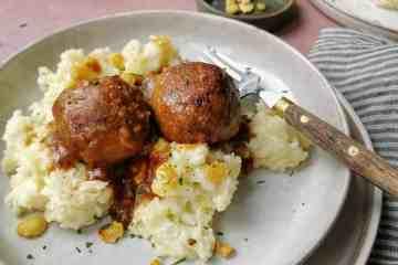 Vegetarische stamppot met gehaktballen