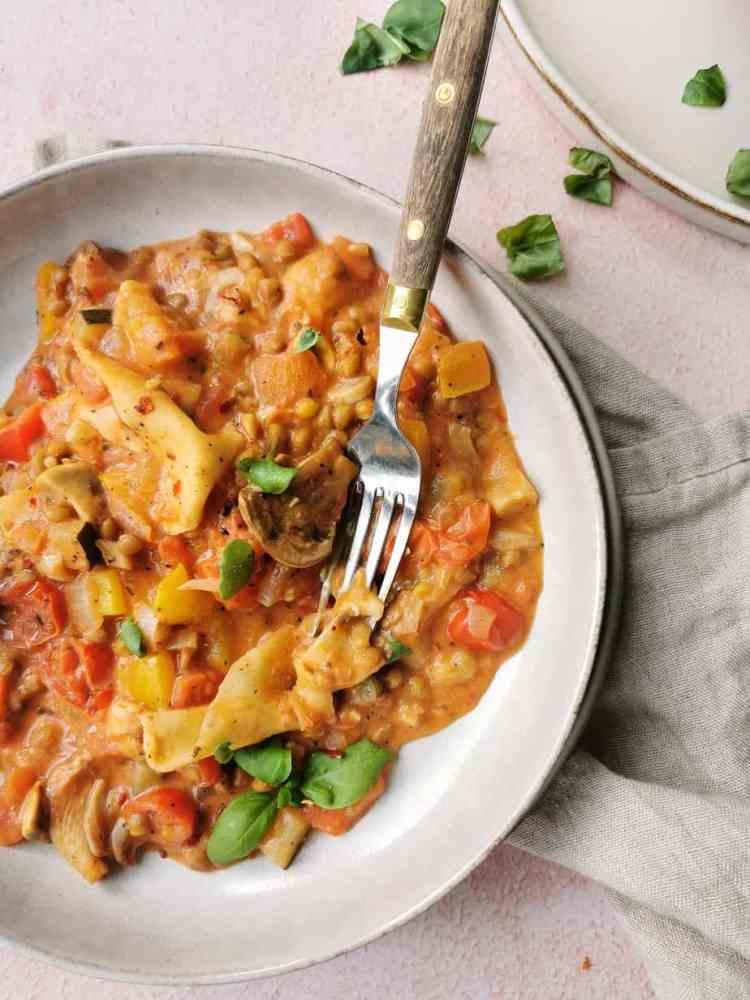 Vegetarische lasagne uit de pan