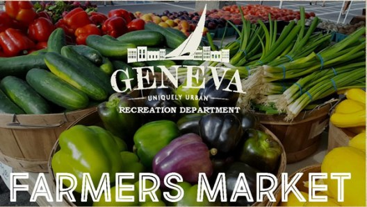 "Various vegetables in baskets with text that says ""Geneva uniquely urban recreation department, Farmers Market"""