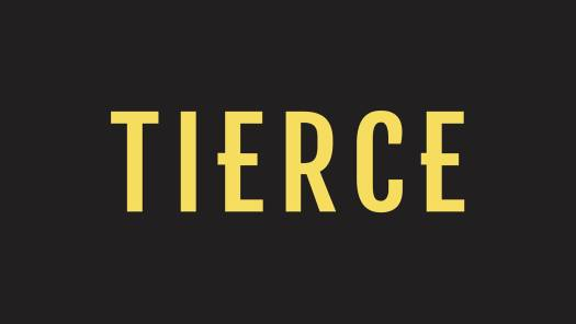 "Text that reads ""Tierce"" (yellow font) on black background"