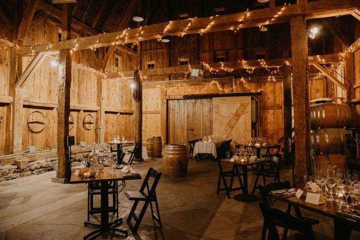 Barrel room at Fox Run Vineyards