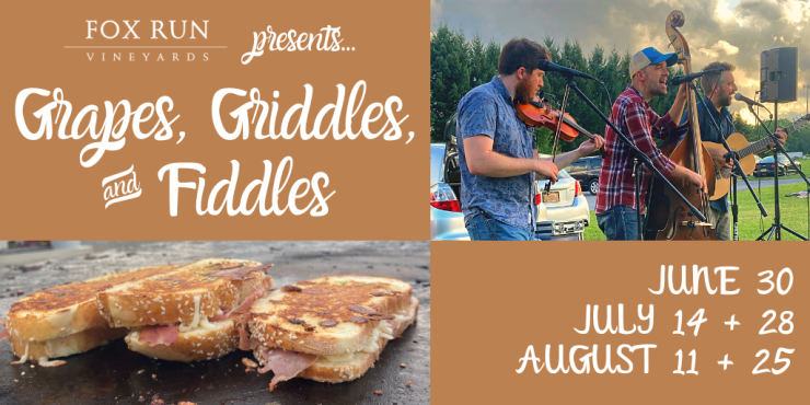 Grapes, Griddles, and Fiddles event banner with dates