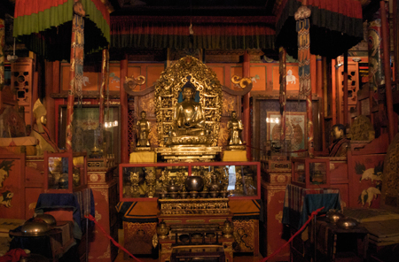 Altar in main temple, Museum of the Chojin Lama, Ulaanbaatar