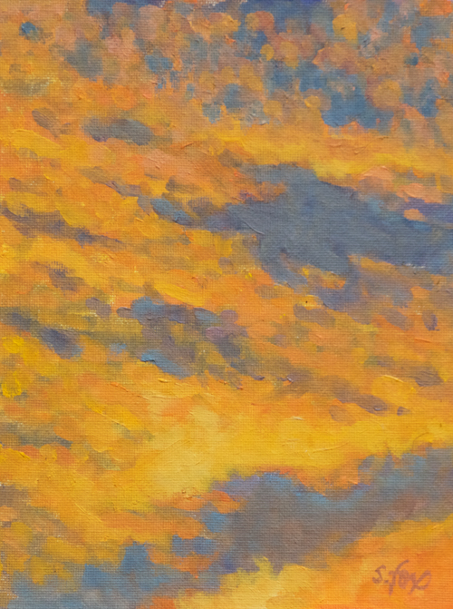 """Sunset Tapestry 8x6"""" oil on canvasboard"""