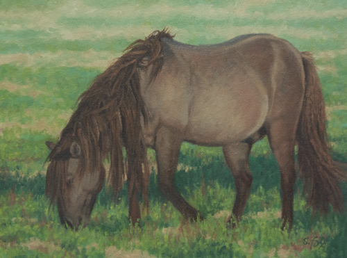 """Mongol Horse #4; Afternoon Graze  9x12"""" oil on canvasboard"""