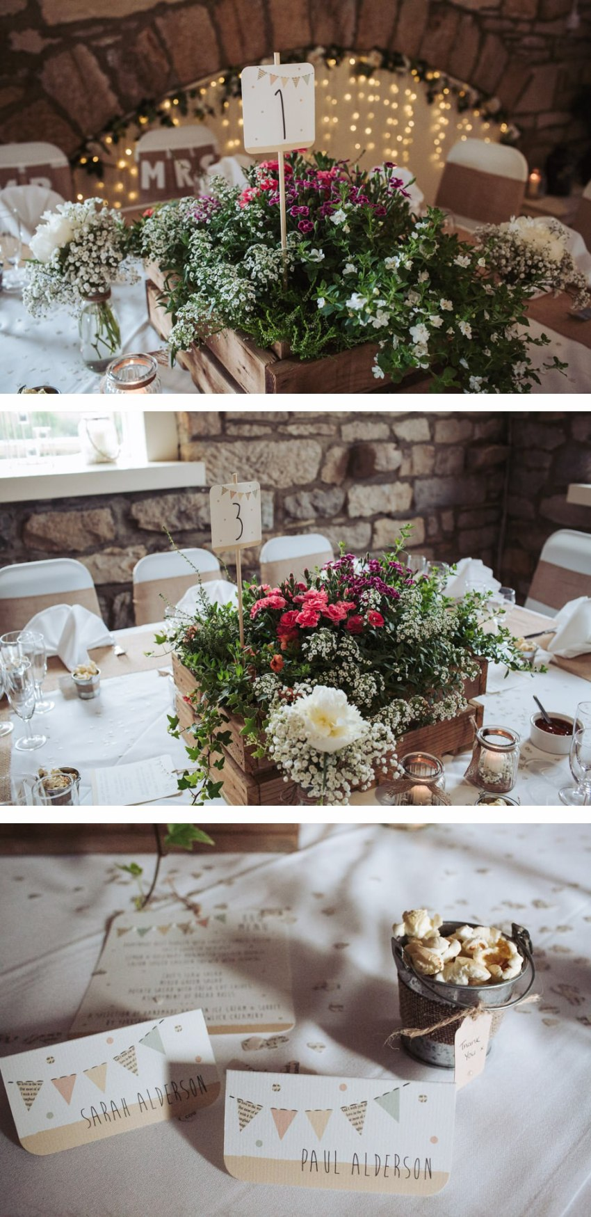 old barn wedding diy table decorations yorkshire
