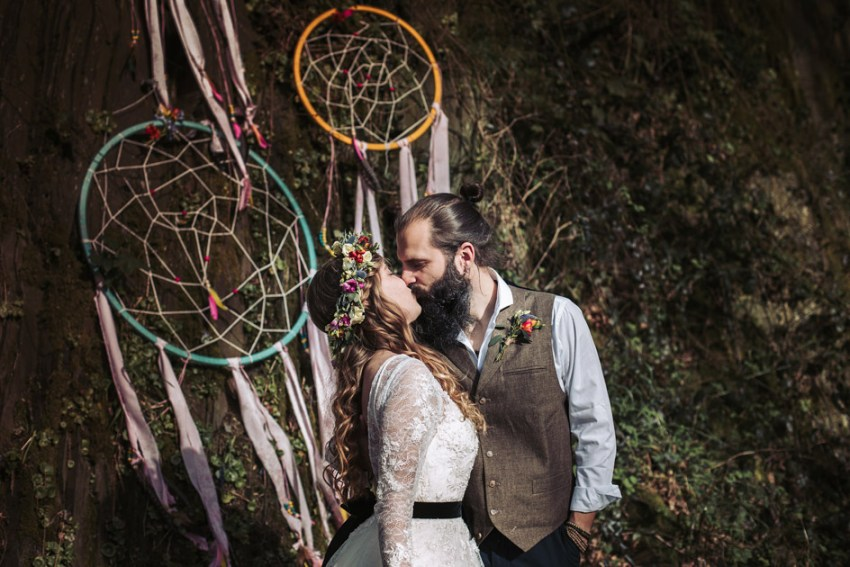 Boho style wedding with dream catchers and flower crown | wedding photography Yorkshire UK