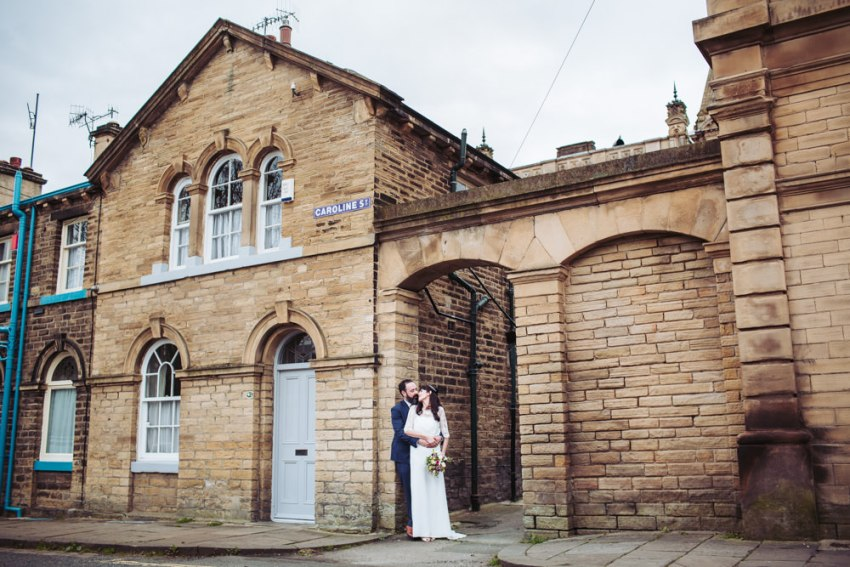 Victoria Hall wedding photographer Yorkshire, Saltaire. Natural photography of bride and groom.