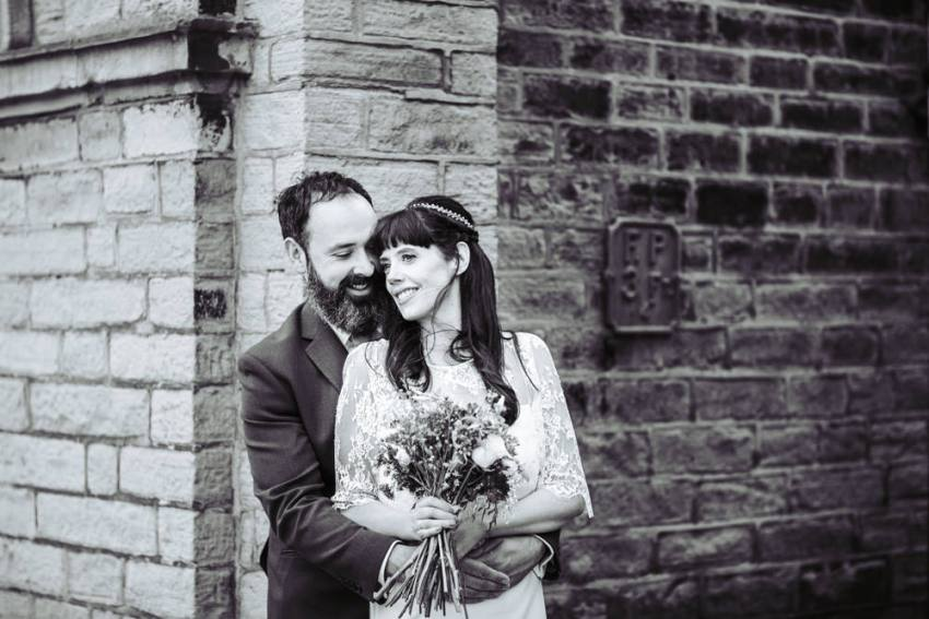 Victoria Hall wedding photographer Saltaire, Yorkshire. Couples portrait.