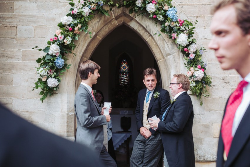 Groomsmen at All Saints Church in Staveley, York wedding.