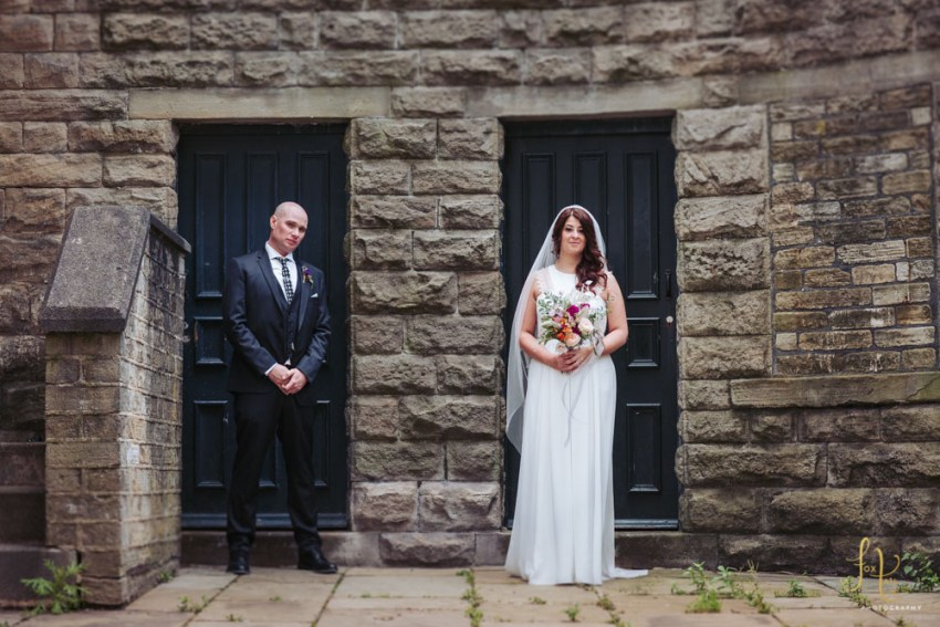 Bride wears Rembro Styling dress | Cool industrial mill wedding venue Yorkshire photographer