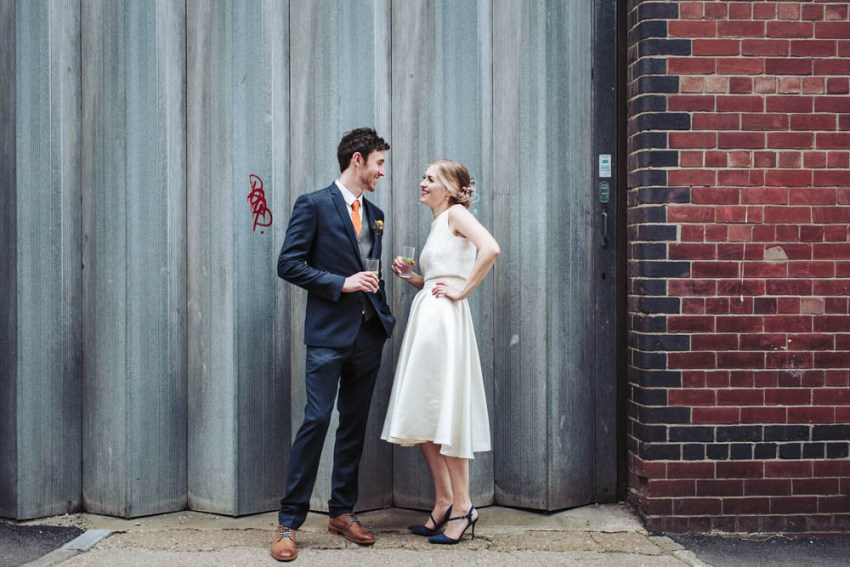 Trafalgar Warehouse wedding photography Sheffield Yorkshire. Bride and groom in industrial city setting.