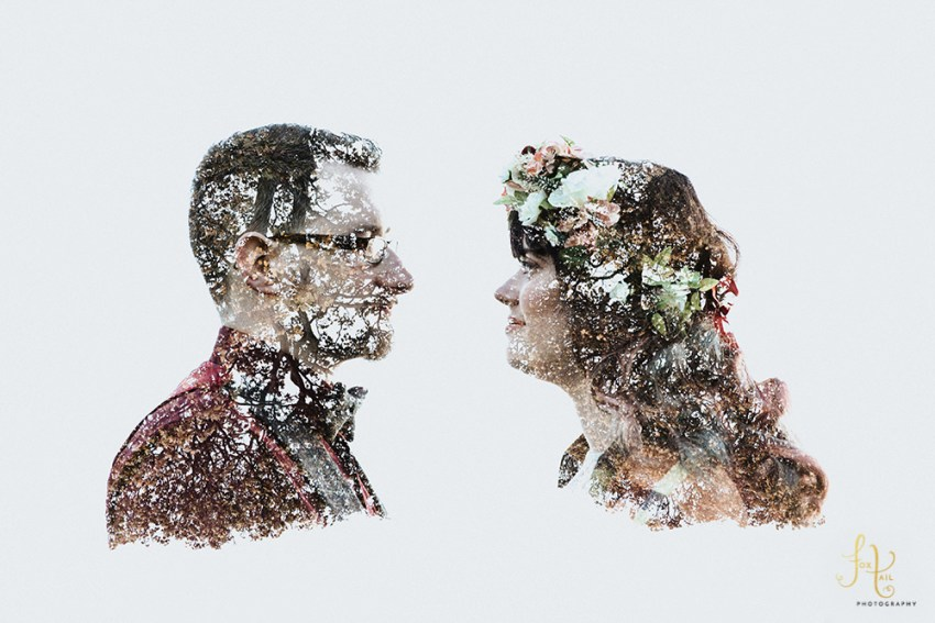Creative wedding photography Hornington Manor, York. Bride and groom double exposure with trees.