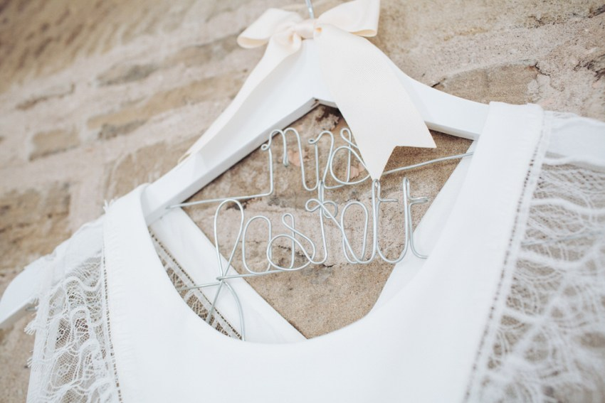 Rembro Styling Byork wedding dress on personalised hanger.