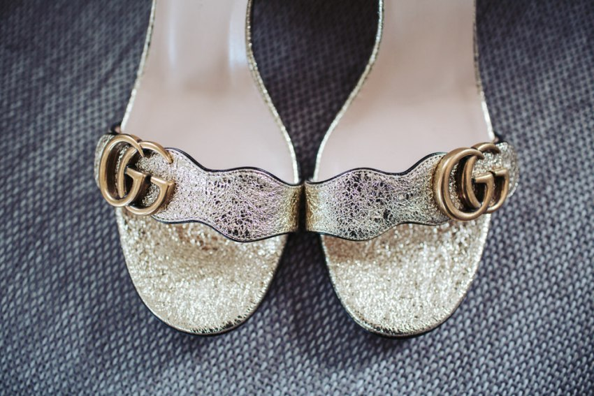Gold Gucci wedding shoes.