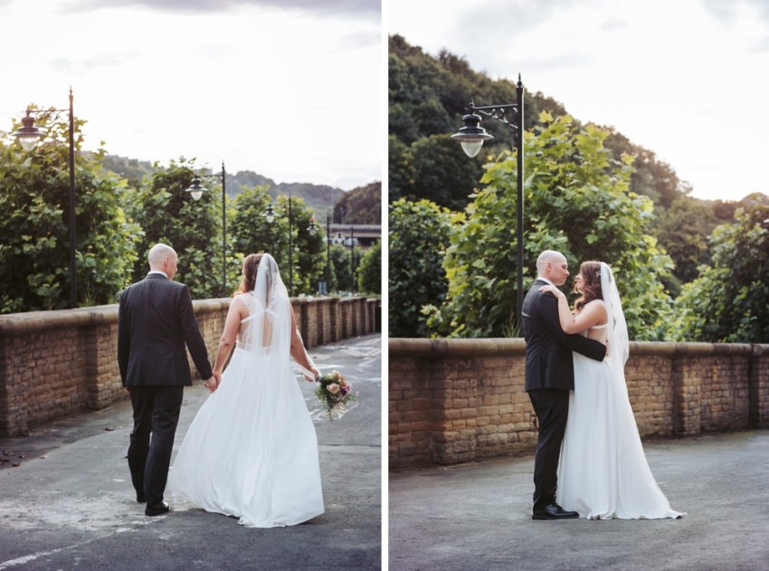 Romanic portraits of bride and groom at the Arches. Bride wears Rembro Styling Byork dress.