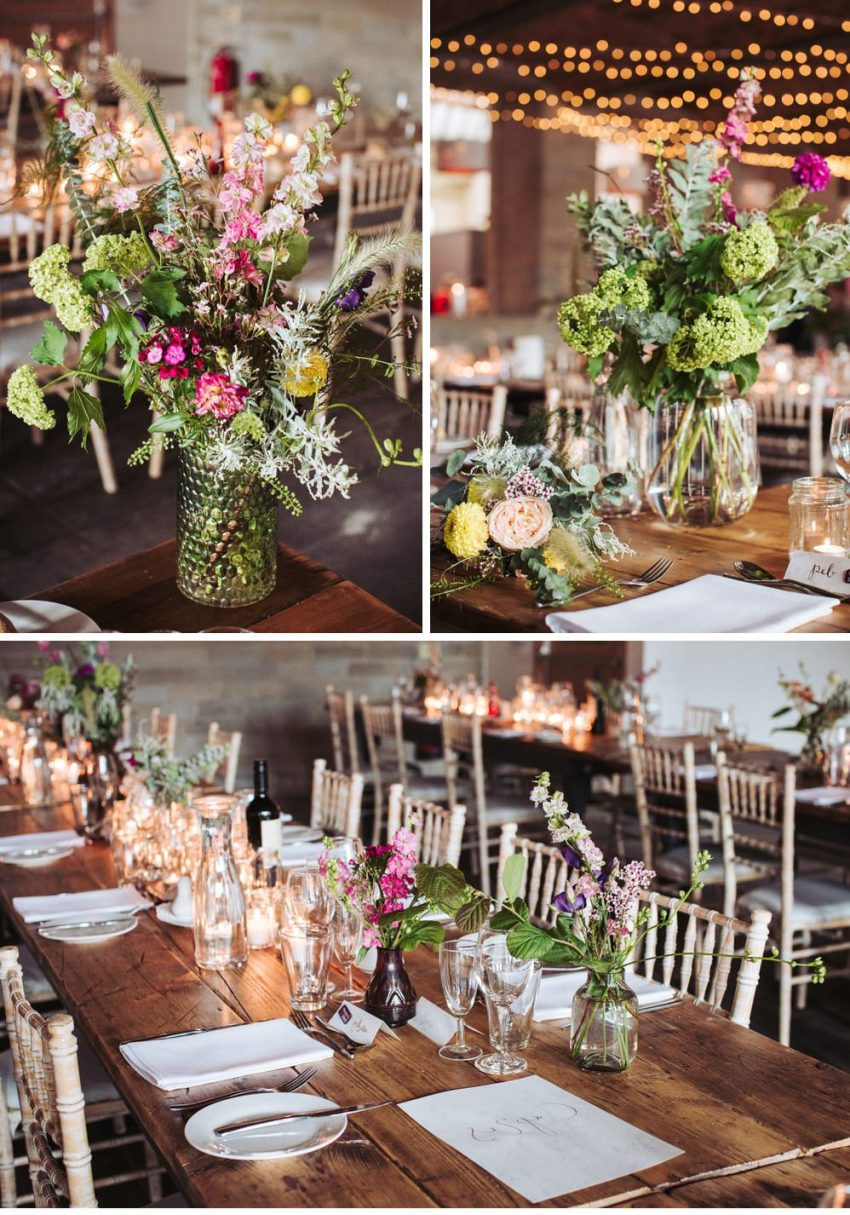 Industrial wedding venue Leeds, Yorkshire. . Rustic tables and flower decorations at the Arches.