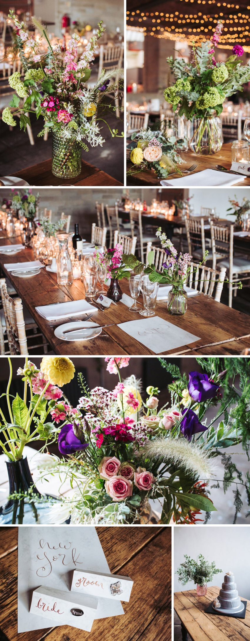 Industrial wedding venue Leeds, Yorkshire. Cool, rustic tables and flower decorations at the Arches.