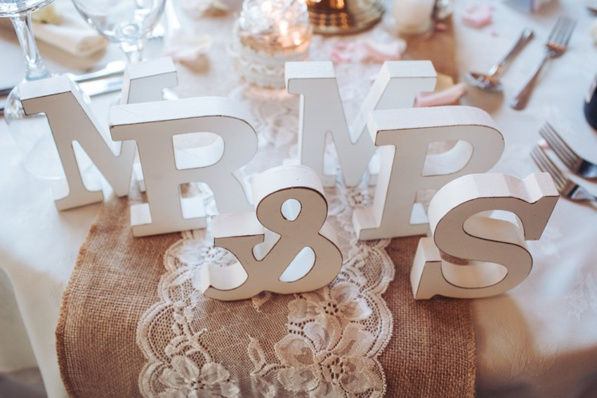Detail shot of wedding table with wooden Mr & Mrs letters on lace and hessian table runners.