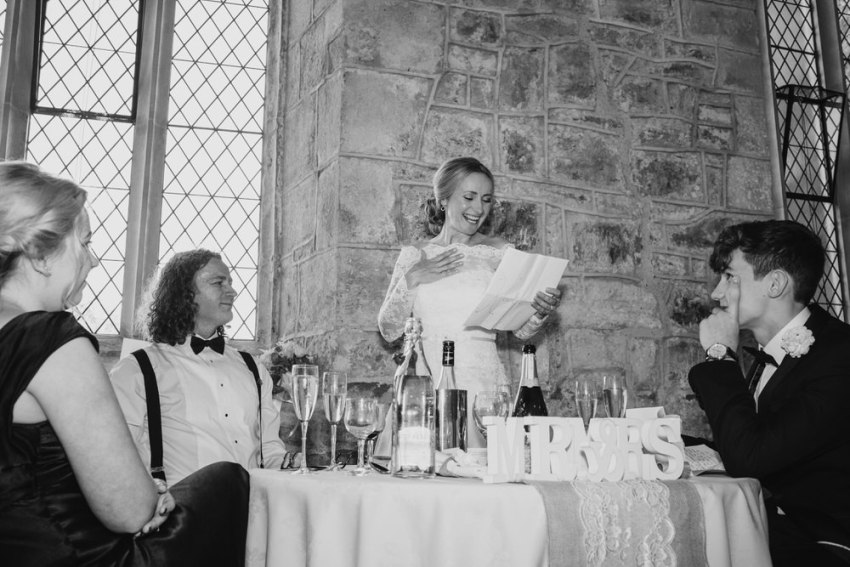 Bride makes a speech.