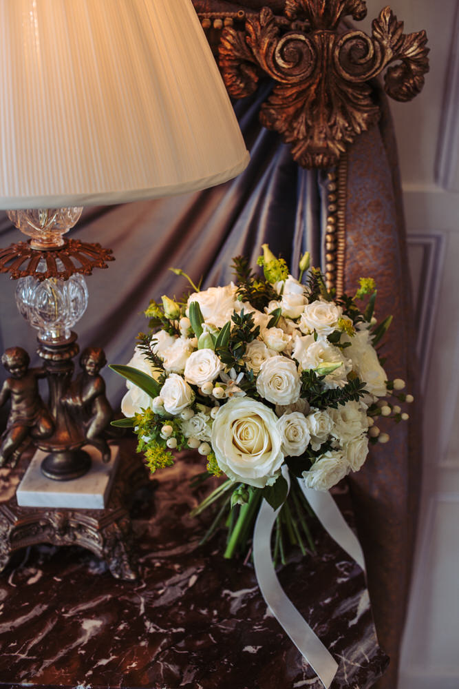 White bridal bouquet flowers at Cliveden House