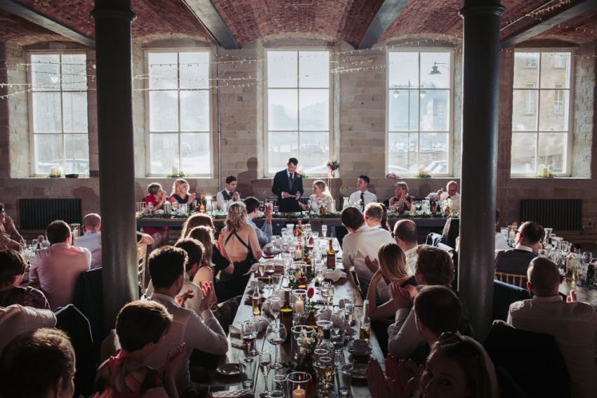 Halifax wedding venue, speeches at the Arches mill.
