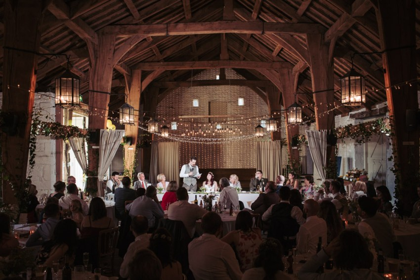 East Riddlesden Hall wedding photos. Speeches in the rustic Airedale barn.