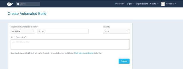 After you grant access to your code repository, the system returns you to Docker Hub and the link is complete.