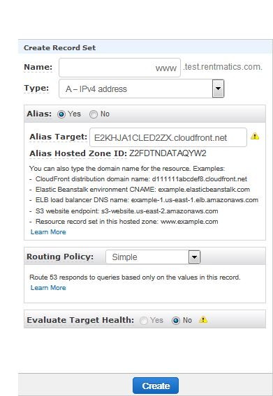create cloudfront zone