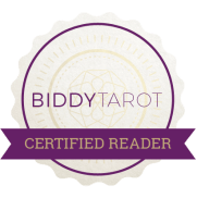 This badge shows that Fox Woman Way is a certified Biddy Tarot reader