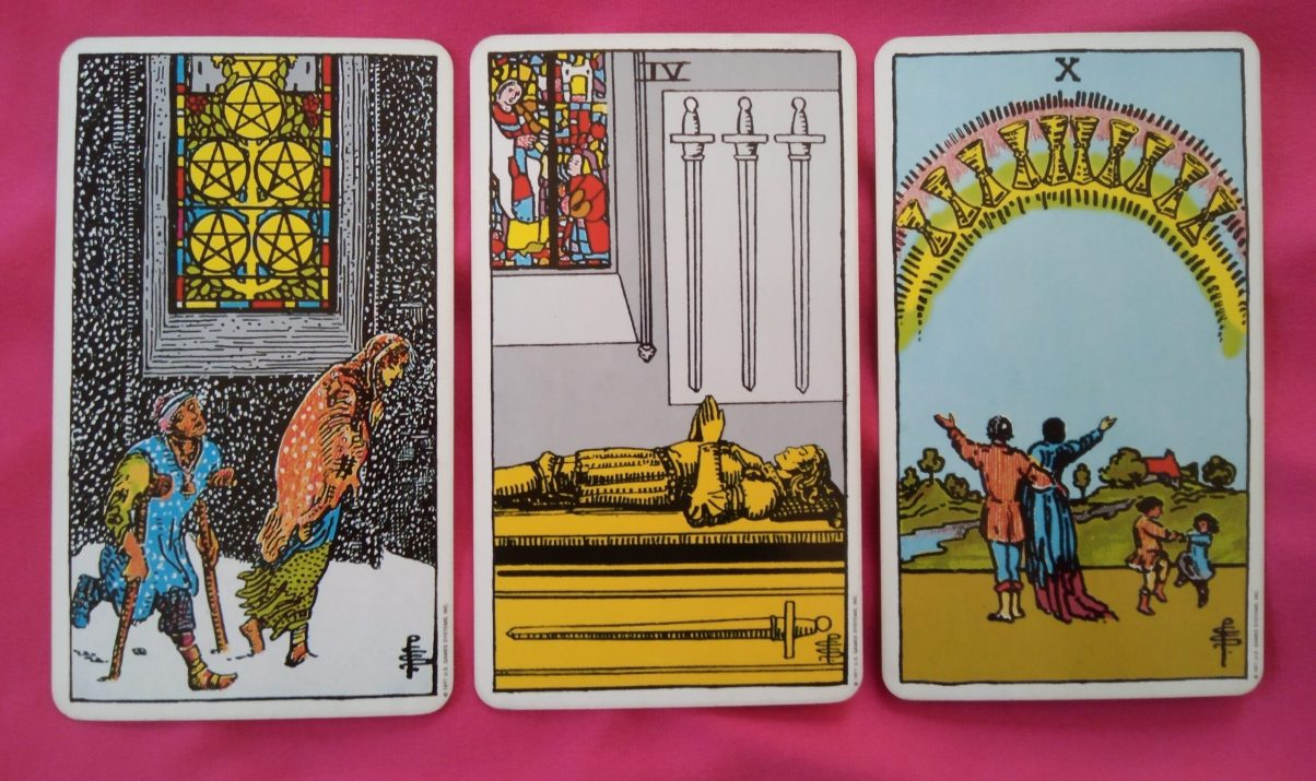 weekly online soul purpose tarot reading cards: 5 of Pentacles, 4 of Swords, 10 of Cups