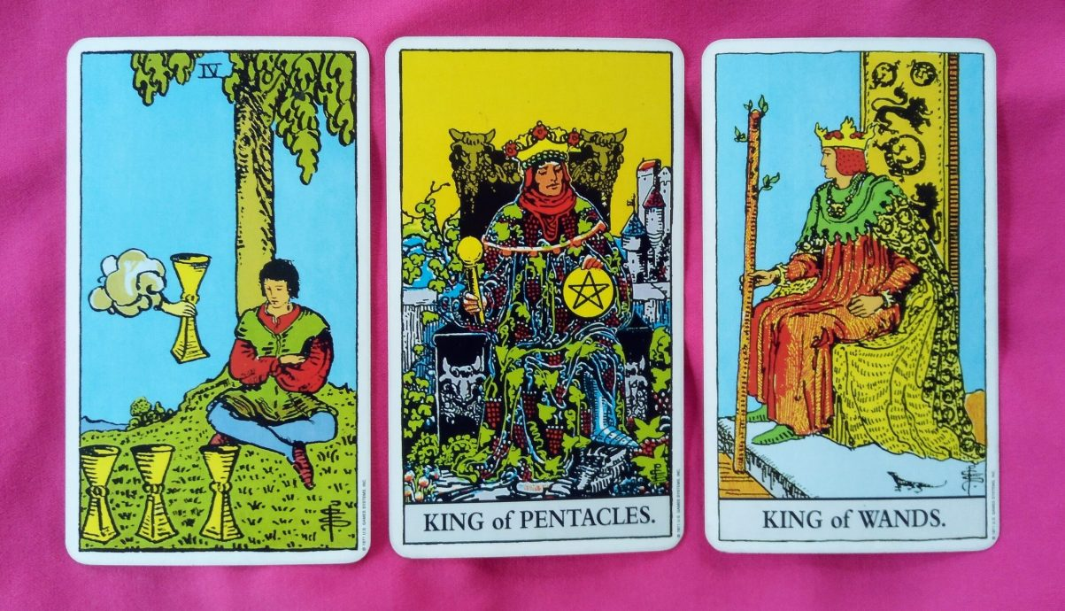 weekly online soul purpose tarot card reading: 4 of Cups, King of Pentacles, King of Wands
