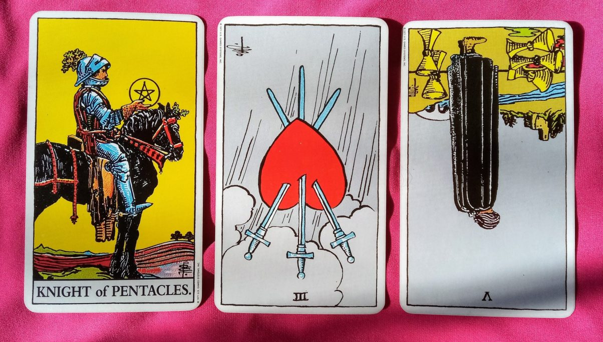 weekly online soul purpose tarot reading cards: Knight of Pentacles, 3 of Swords reversed and 5 of Cups reversed