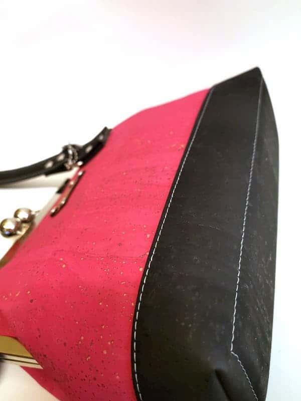 prachtige beugel tas roze kurk onderkant