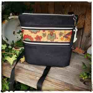 kurk cross body tas met 3 ritsen