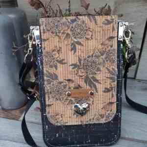 Minimalistisch telefoon tasje zwart met vogels