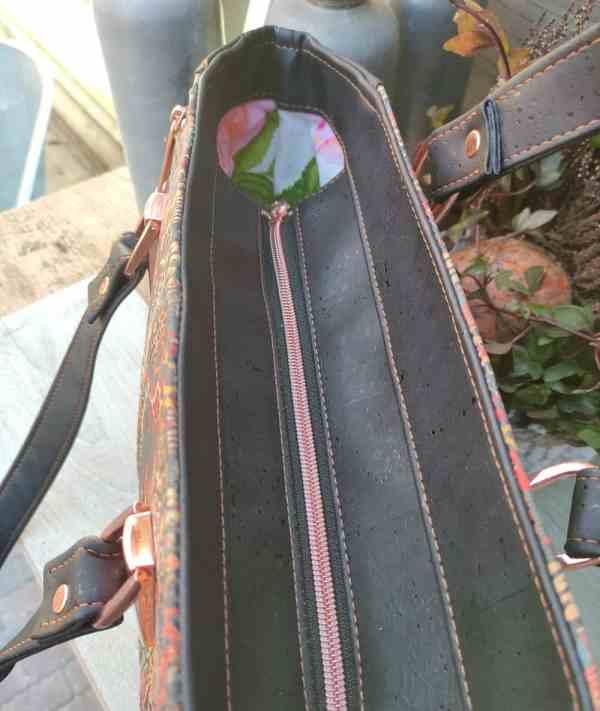 Handtas kurkleer, prachtig en uniek en maar 1 beschikbaar! bovenkant