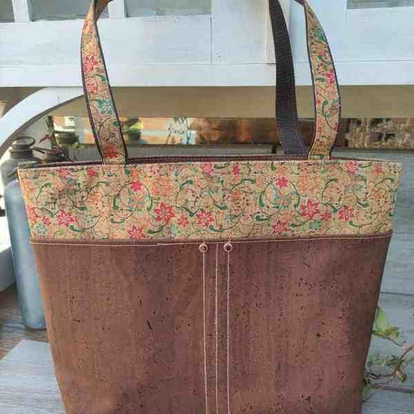 kurk shopper bruin met bloemen, ideaal om mee te winkelen