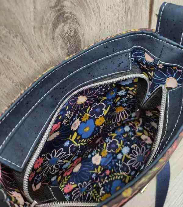 klein kurk tasje blauw binnenkant