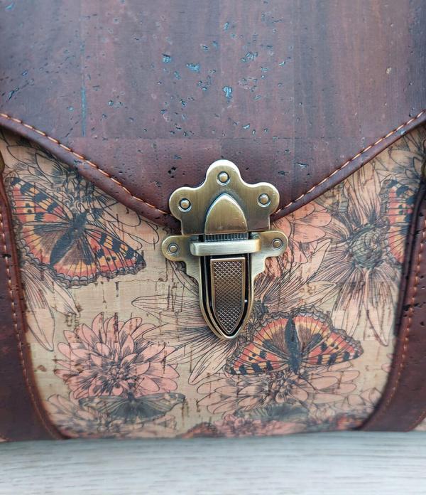 kurk schoudertas vlinder detail