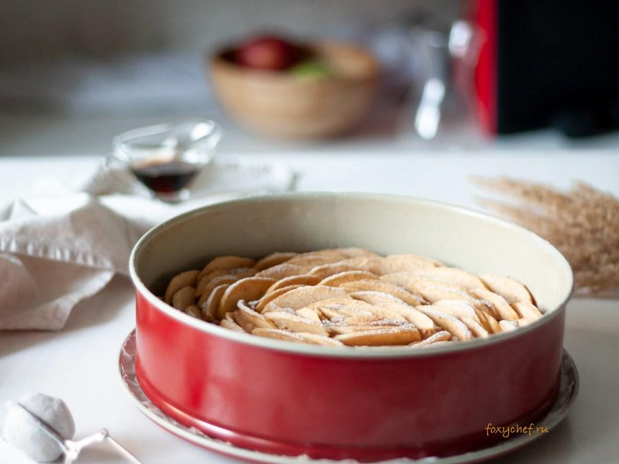 Яблочный пирог на творожно-овсяном тесте