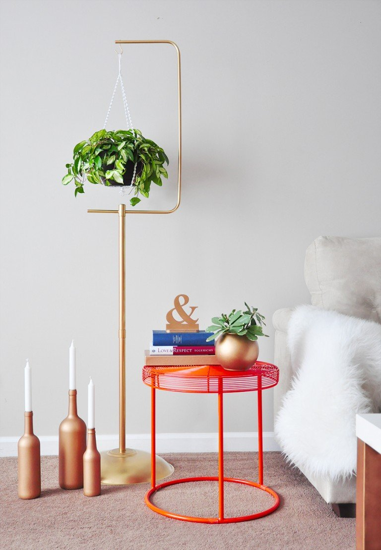DIY Macramé Plant Hanger + Gold Plant Stand on Plant Stand Hanging  id=13252