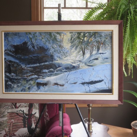 01_Scott_Rubie_Campbell's Gorge Fall below the Dam_acrylic_2020_17 x 30 x ¼ in context