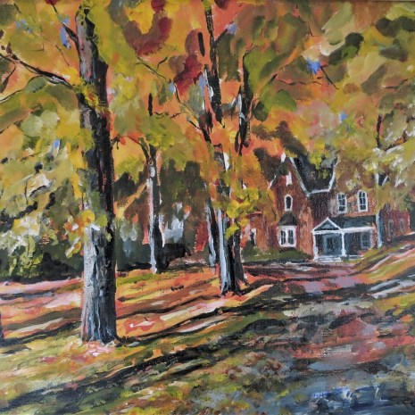 09_Scott_Rubie_Victorian House in Fall_ acrylic on canvas_2018_11 x 14 x ⅝