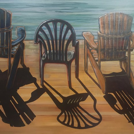 Elisabeth_Arbuckle_three chairs on the dock in the sun_2019_acrylic_36x24x2